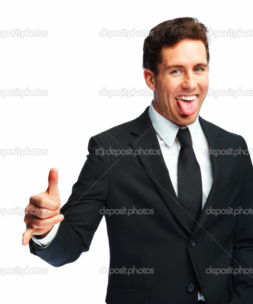 Portrait of a happy young business man with his tongue out isolated over white background — Stock Photo #3300342