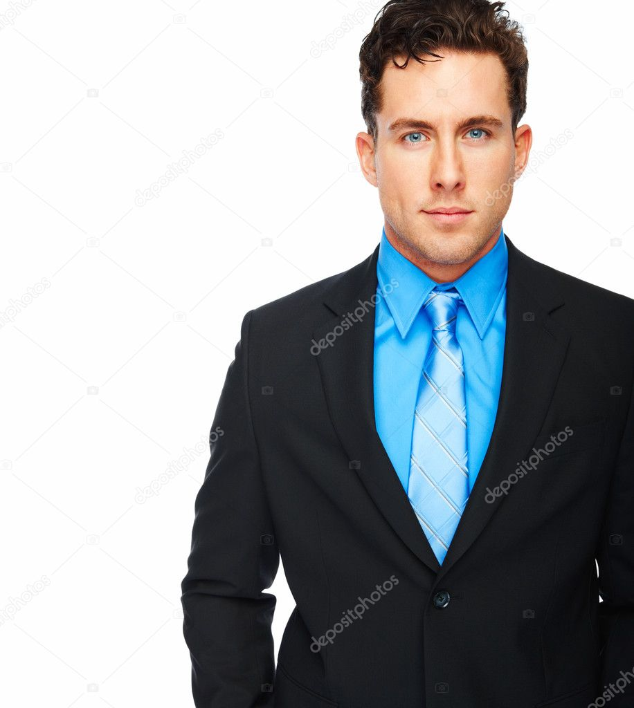 Young confident handsome businessman in black suit isolated over white background — Stock Photo #3300365