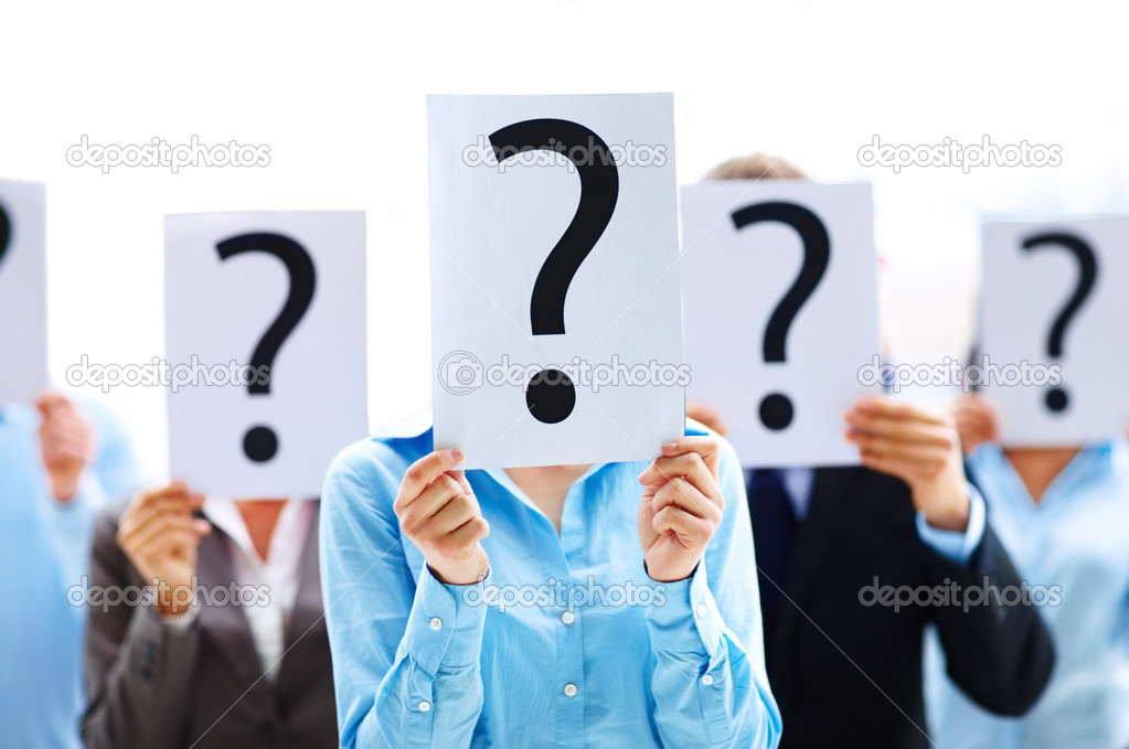 Business standing with question mark on boards — Foto Stock #3300394