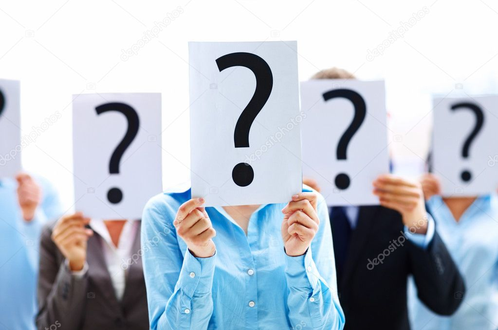 Business standing with question mark on boards  Foto de Stock   #3300394