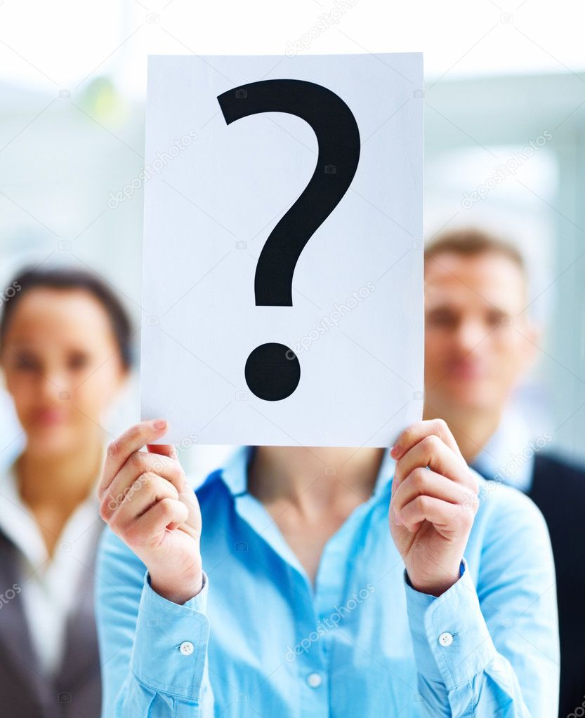Closeup portrait of businesspeople holding question mark on boards  Photo #3300395
