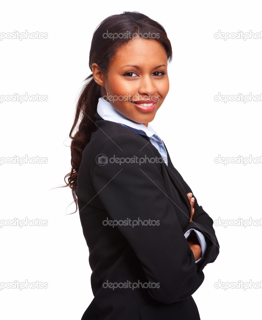 Portrait of a successful young business woman over white background  Stock Photo #3300936
