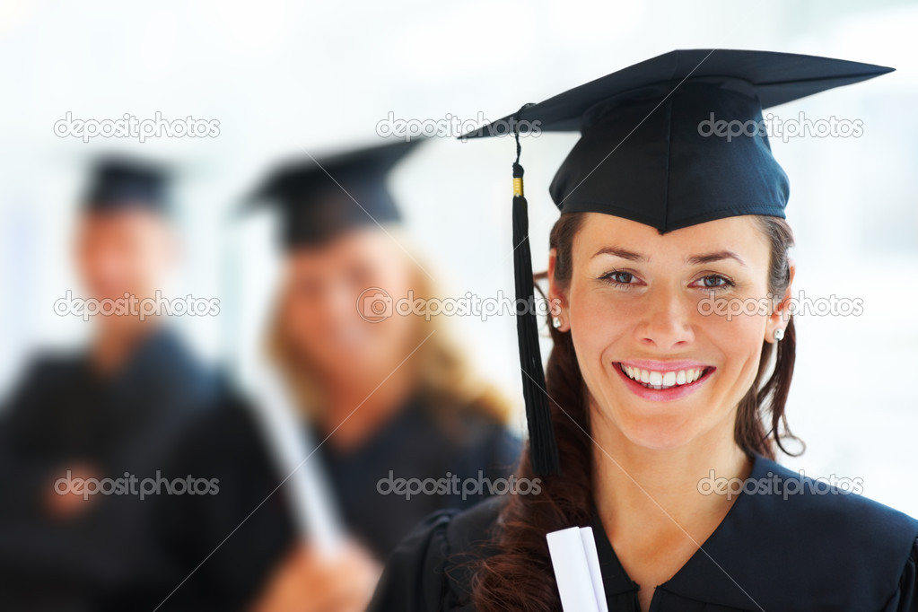 Closeup portrait of young female graduate with her friends at the back — Stock Photo #3301364