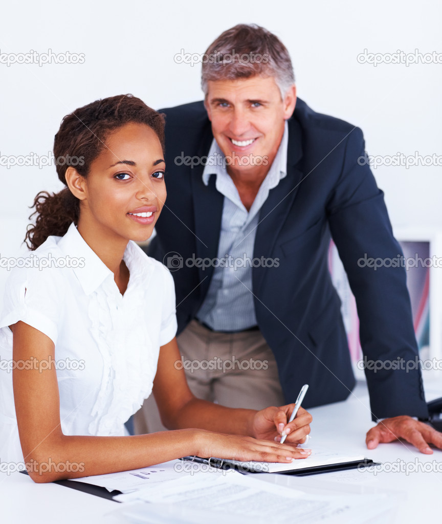 Portrait of a confident college lecturer and a young female student — Stock Photo #3301497