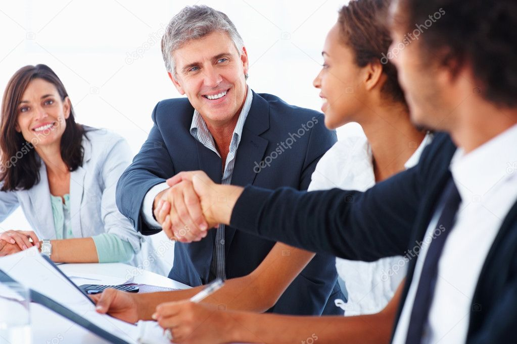 Portrait of successful business colleagues shaking hands with eachother — Stock Photo #3302200