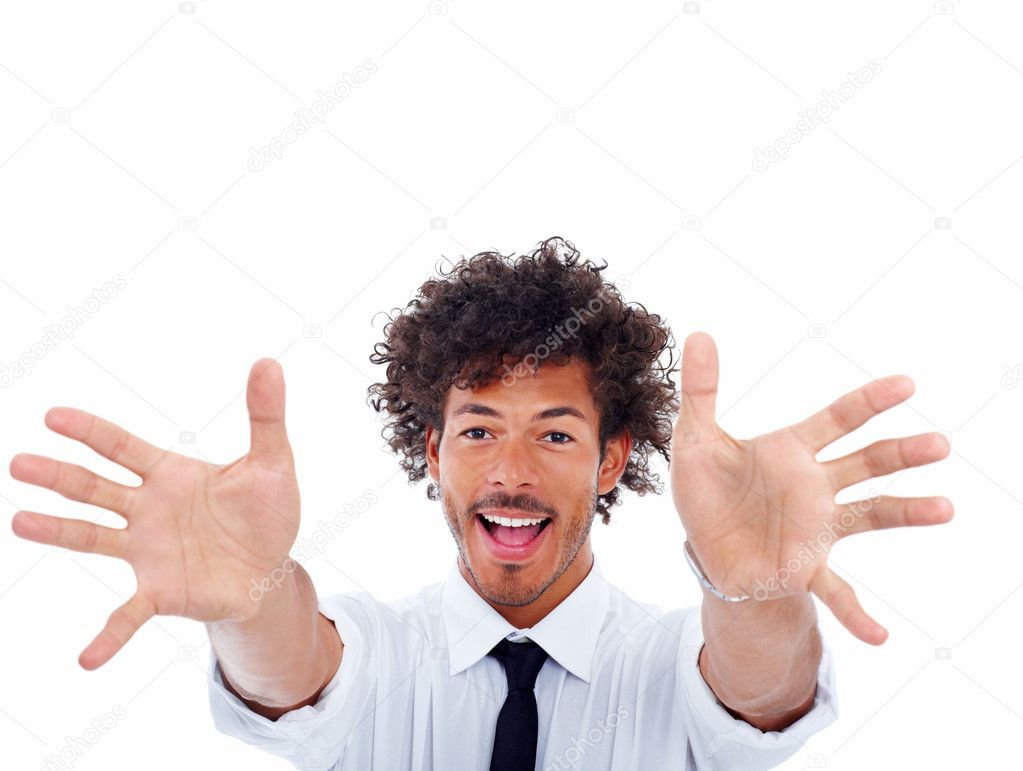 Portrait of a excited young business man with his hands stretched in front — Stock Photo #3302408
