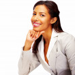 Attractive African American business woman isolated against whit - Stock Photo