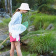Royalty-Free Stock Photo: Portrait of a cute young girl fishing by a stream
