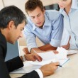 Business seriously discussing on certain business concern - Foto Stock