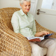 Royalty-Free Stock Photo: Happy old woman going through a magazine