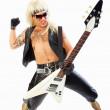 Aggressive rock guitarist playing an electric guitar over white - Stock Photo