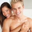 Happy couple after spending their honeymoon night together - Foto Stock