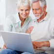 Royalty-Free Stock Photo: A senior retired couple working on a laptop