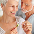 Royalty-Free Stock Photo: Closeup of a happy old couple playing with a flower
