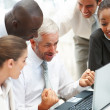 Royalty-Free Stock Photo: An excited team of business working together