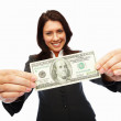 Royalty-Free Stock Photo: An elegant business woman holding money isolated on white backgr