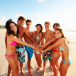 Group of friends enjoying their summer vacation at the beach - Stock Photo