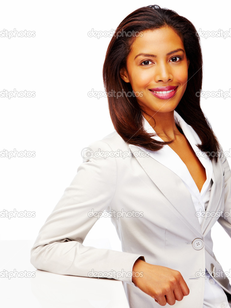 Portrait of a satisfied African American business woman smiling over white background — Stock Photo #3323307