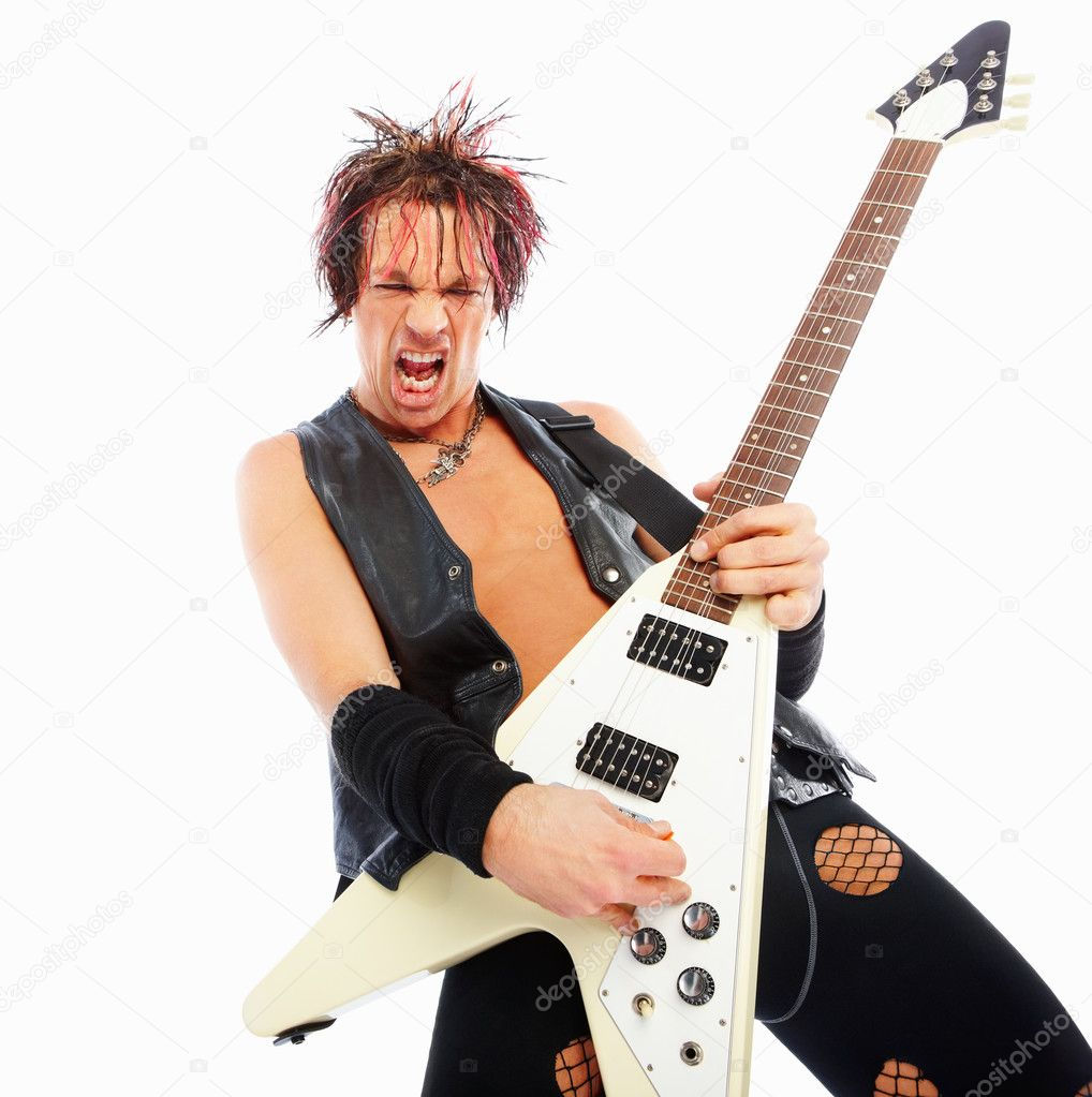 Aggressive rock guitarist playing an electric guitar on white — Stock Photo #3325647
