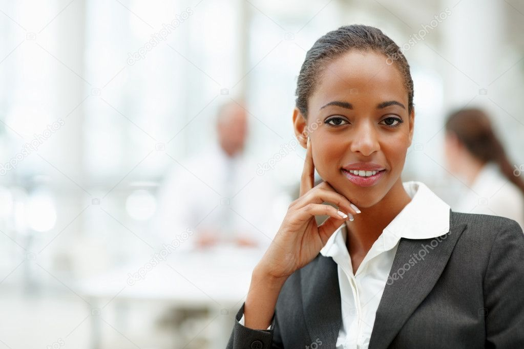 Portrait of an attractive African American business woman smiling confidently — Stock Photo #3327862