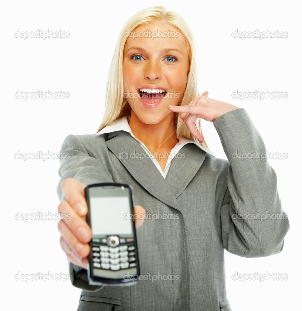Pretty woman exhibiting a new cellphone over white background  Stock Photo #3328076