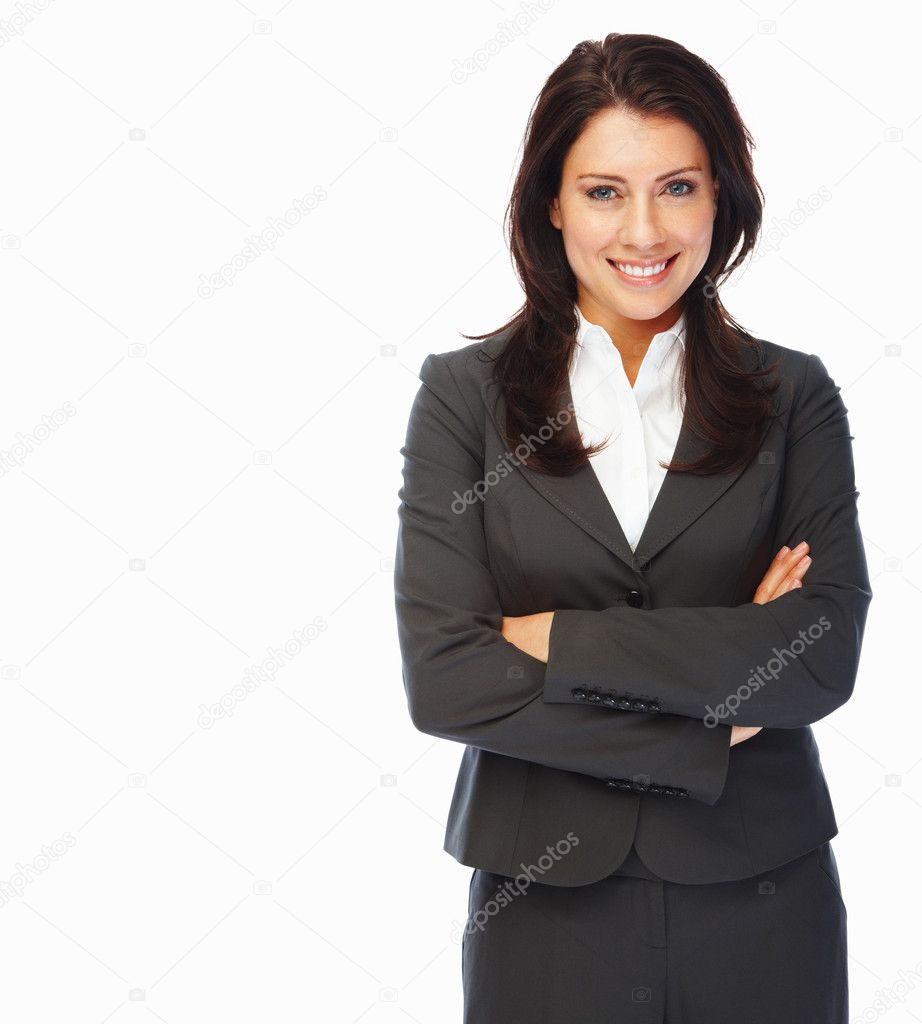 Positive business woman smiling over white background — Stock Photo #3328244