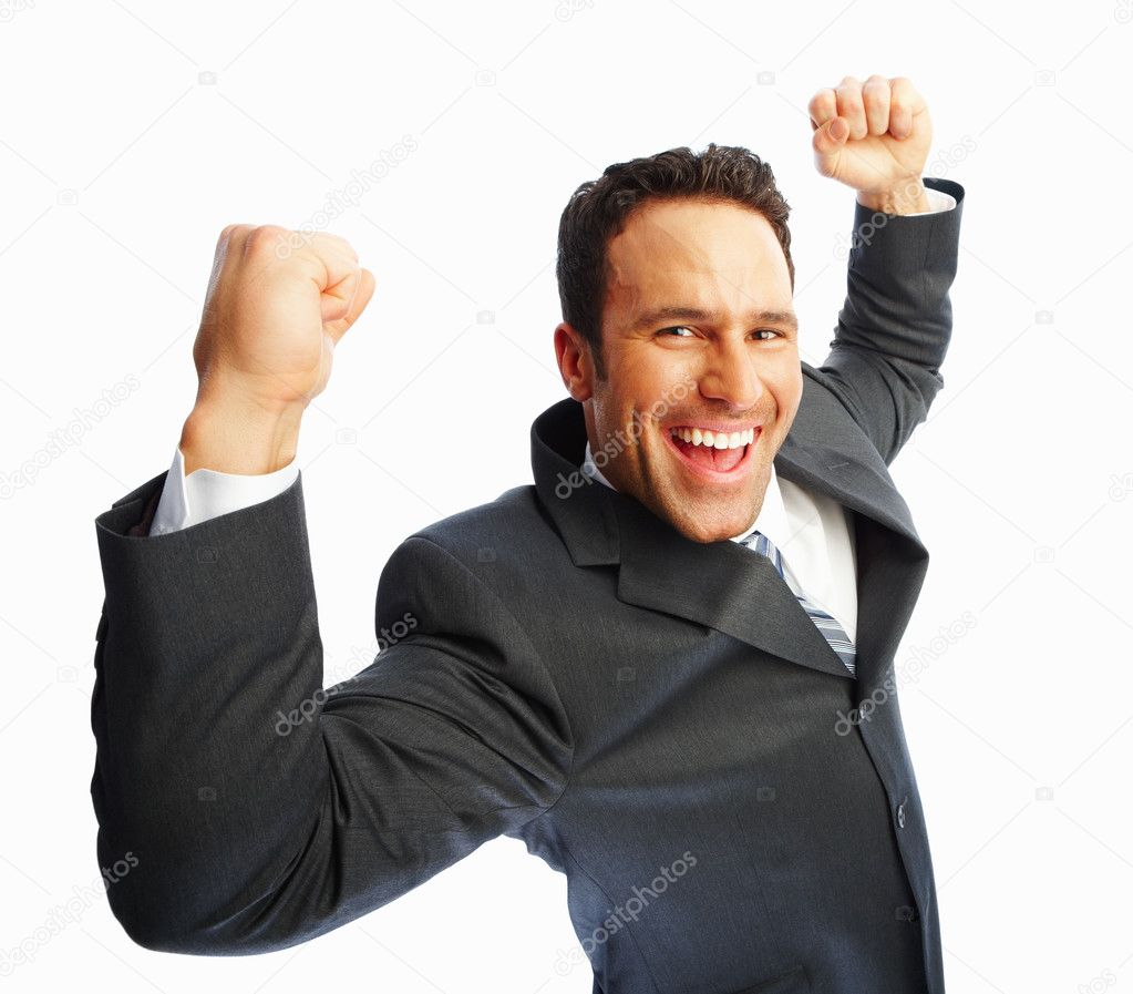 Cheerful young business man with hands raised in victory — Stock Photo #3328370