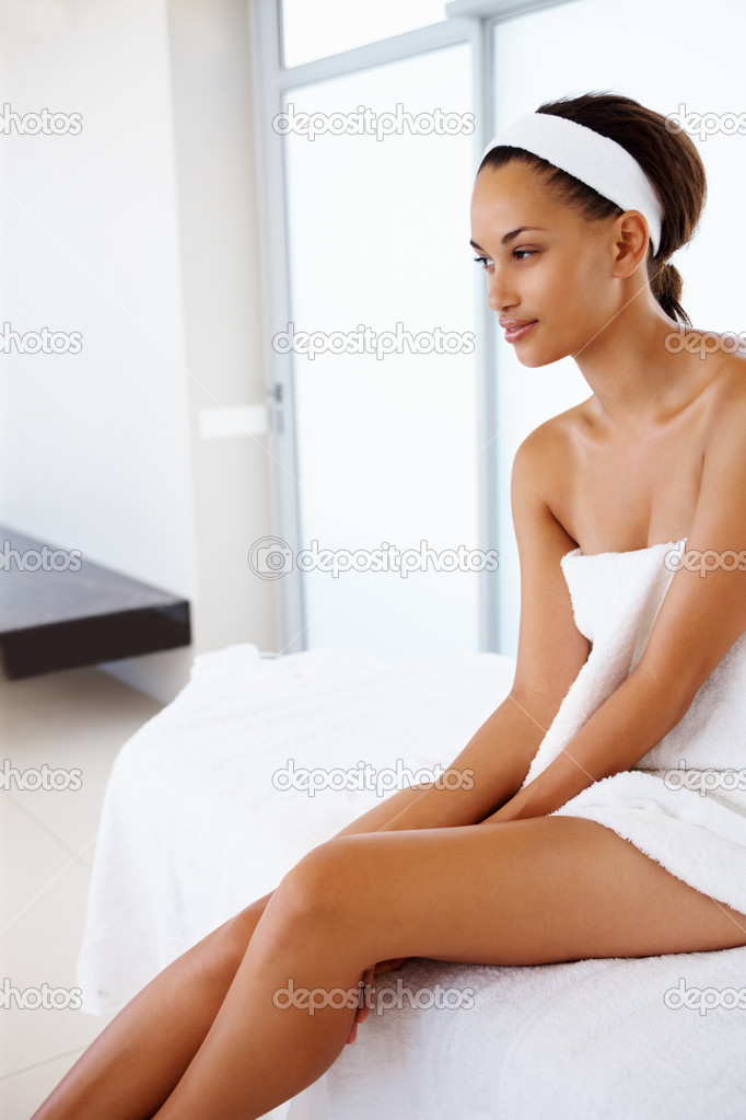 lady wrapped in a towel