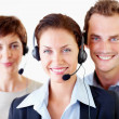 Team of successful call centre employee's - Stock Photo