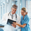 Two doctors standing together and looking in the file - Stockfoto