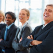 Team of confident business colleagues in a line, laughing - Stock Photo