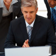 Mature business man with a team of colleagues working on a lapto - Stock Photo