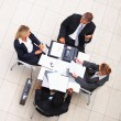 Above view of business colleagues during a meeting - Foto Stock