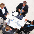 Royalty-Free Stock Photo: Top view of business in a meeting