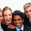 Closeup of cheerful business smiling over white backgroun - Stock Photo
