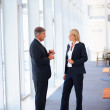 Full length image of two business discussing business iss - Stock Photo