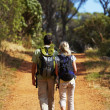 Royalty-Free Stock Photo: A couple of young hikers walking in the bush
