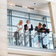 Royalty-Free Stock Photo: Group of colleagues discussing business by the glass railing