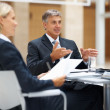 Business man speaking to his colleagues at a boardroom meeting - Stock Photo