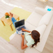 Top view of a lady on sofa using a laptop - Stock Photo