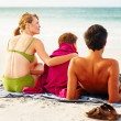 Royalty-Free Stock Photo: Rear view of a happy family sitting at the beach