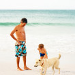 Royalty-Free Stock Photo: Father and son at the beach playing with a dog