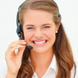 Royalty-Free Stock Photo: Closeup of a pretty young woman with a headset, isolated
