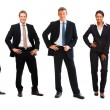 Business in a line posing over white background - Foto Stock