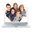Young college students smiling in a laptop screen - ストック写真