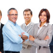 Royalty-Free Stock Photo: Successful business colleagues with their hands folded standing