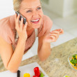 Mature woman speaking on the mobile phone , preparing a salad - 图库照片