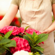Royalty-Free Stock Photo: Mid section of young female florist at a greenhouse surrounded w