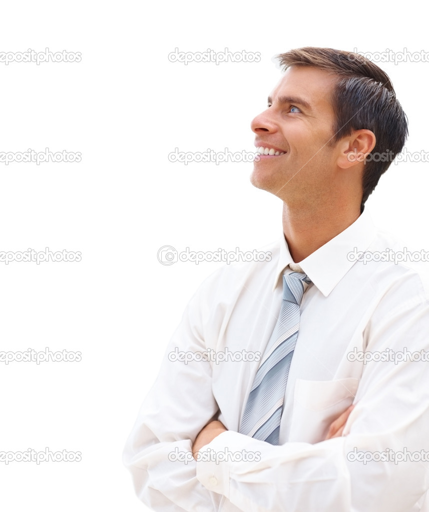 Ambitious young business man looking at copyspace over white background — Stock Photo #3331617