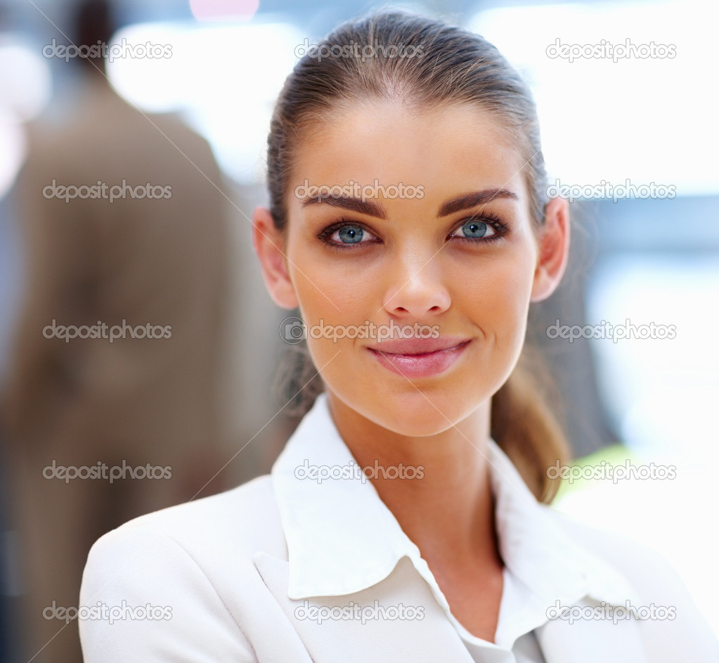 Closeup portrait of a lovely business woman smiling — Photo #3332041